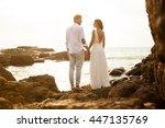 wedding photo in indian ocean... | Shutterstock . vector #447135769