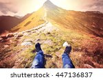 tourism in mountains. tourist... | Shutterstock . vector #447136837