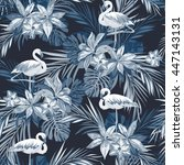 indigo tropical summer seamless ... | Shutterstock .eps vector #447143131