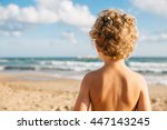 back view of shirtless boy with ... | Shutterstock . vector #447143245
