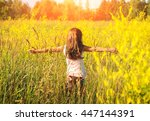 little girl running on meadow... | Shutterstock . vector #447144391