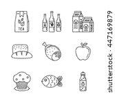 set of vector food icons in... | Shutterstock .eps vector #447169879