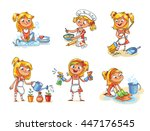 house cleaning. girl is busy at ... | Shutterstock .eps vector #447176545