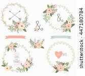 floral wreath collections | Shutterstock .eps vector #447180784