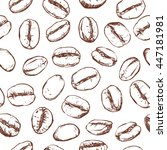 coffee bean pattern including... | Shutterstock .eps vector #447181981