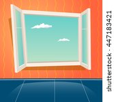 cartoon window design template... | Shutterstock .eps vector #447183421
