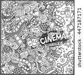 cartoon cute doodles hand drawn ... | Shutterstock .eps vector #447187171