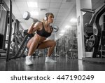 in the gym.fitness model doing...   Shutterstock . vector #447190249