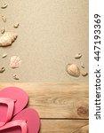 summer concept with pink flip...   Shutterstock . vector #447193369