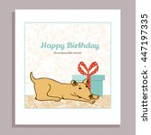 happy birthday vector card with ... | Shutterstock .eps vector #447197335