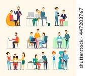 co working people  meeting ... | Shutterstock .eps vector #447203767