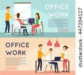 co working people  meeting ... | Shutterstock .eps vector #447204127