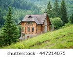 lonely wooden house in the... | Shutterstock . vector #447214075
