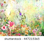 abstract flowers watercolor... | Shutterstock . vector #447215365