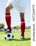 football player standing with... | Shutterstock . vector #447226975