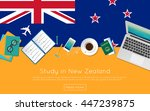 study in new zealand concept... | Shutterstock .eps vector #447239875