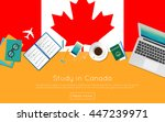 study in canada concept for... | Shutterstock .eps vector #447239971