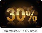 gold 30 percent. vector image. | Shutterstock .eps vector #447242431