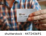 hand show credit card  chip... | Shutterstock . vector #447243691