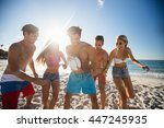 friends playing rugby at the... | Shutterstock . vector #447245935
