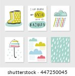 set of card templates with rain ...