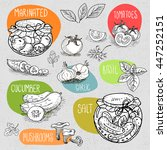 set of stickers in sketch style ... | Shutterstock .eps vector #447252151