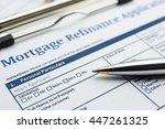 blue ballpoint pen and a... | Shutterstock . vector #447261325