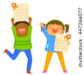 happy kids holding their... | Shutterstock . vector #447266077