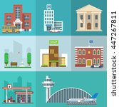 Set of public buildings. City infographics elements. Vector flat design icon collection. Institutions symbols. School, hospital, bank, park, shop, police station, gas station, airport - stock vector