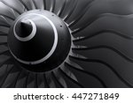 Small photo of Turbine blades of turbo jet engine for passenger plane, aircraft concept, aviation and aerospace industry, selective focus