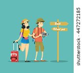 tourists and the road sign.... | Shutterstock .eps vector #447272185