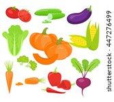 set of vegetables. organic... | Shutterstock .eps vector #447276499
