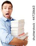 Portrait of shocked handsome student holding books and looking at camera on white. - stock photo