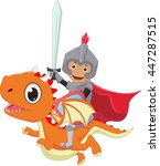 small knight riding the dragon | Shutterstock .eps vector #447287515
