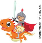 small knight riding the dragon | Shutterstock . vector #447287521