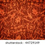 red crumpled fabric with flower pattern - stock photo