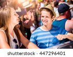 teenage couple at summer music... | Shutterstock . vector #447296401