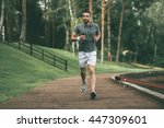 starting day from morning jog.... | Shutterstock . vector #447309601