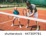 tennis training. cheerful... | Shutterstock . vector #447309781