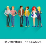 flat line bright set of modern... | Shutterstock .eps vector #447312304