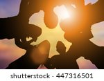 silhouette good friends embrace ... | Shutterstock . vector #447316501