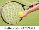 tennis player preparing to play | Shutterstock . vector #447324541