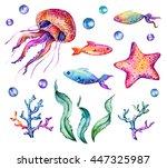 hand drawn watercolor marine...   Shutterstock . vector #447325987