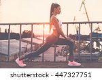 woman stretching. full length... | Shutterstock . vector #447327751