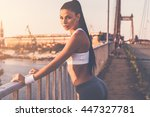 sporty woman. beautiful young... | Shutterstock . vector #447327781