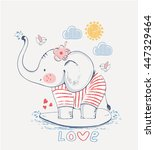 Stock vector sailor elephant hand drawn vector illustration can be used for kid s or baby s shirt design 447329464