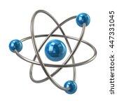 3d Illustration Of Blue Atom...