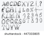abstract alphabet. the letters... | Shutterstock .eps vector #447333805