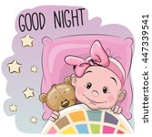Cute Cartoon Sleeping Baby Gir...