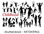 childhood silhouettes set.... | Shutterstock .eps vector #447345961